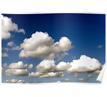 Cumulus clouds, blue sky Poster