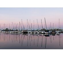 Marina in Pink - Peaceful Boat Reflections Photographic Print