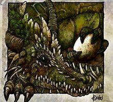 Green Dragon with Unity Stone by David Davies
