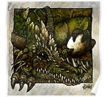 Green Dragon with Unity Stone Poster