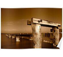 Dawn at Mentone Pier #1 in Sepia Poster
