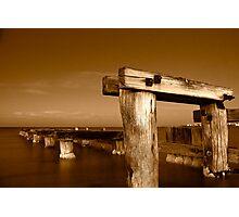 Dawn at Mentone Pier #1 in Sepia Photographic Print