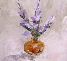 Violet flowers in vase by Stella  Shube As