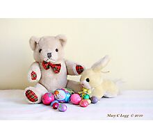 Yellow Easter Bunny brings Erasmus Bear Easter Eggs Photographic Print