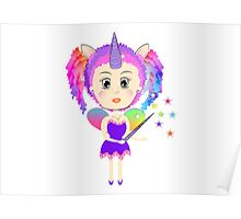 Cute Fantasy Rainbow Fairy Unicorn Poster