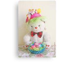 Fatso Bear with an Easter basket Metal Print
