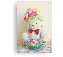 Fatso Bear with an Easter basket Canvas Print