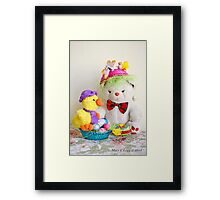 Fatso Bear and Crazy Chickie with an Easter basket Framed Print