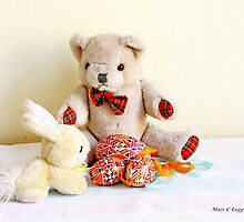 Erasmus Bear and the yellow Easter Bunny by pogomcl