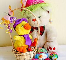 Fatso Bear and  Crazy Chickie  with an Easter basket by pogomcl