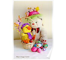 Fatso Bear and  Crazy Chickie  with an Easter basket Poster