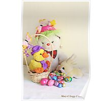 Fatso Bear,  Crazy Chickie and yellow Easter Bunny  with an Easter basket Poster