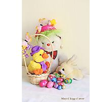 Fatso Bear,  Crazy Chickie and yellow Easter Bunny  with an Easter basket Photographic Print
