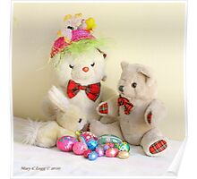 Yellow Easter Bunny, Fatso and Erasmus Bear  with Easter eggs Poster