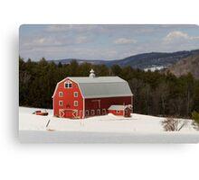 Bright Red Barn in Winter Canvas Print