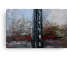 A river after black building Canvas Print
