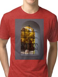 Autumn Through the Fence Window Tri-blend T-Shirt