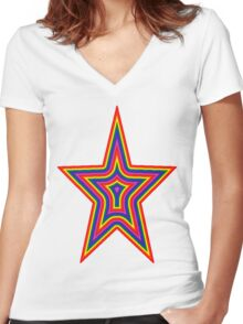 Psychedelic Rainbow Star Women's Fitted V-Neck T-Shirt