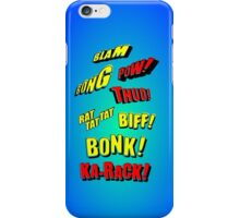 Cartoon BLAM, BONG, POW! THUD! RAT TAT TAT, BIFF! BONK! KA-RACK! by Chillee Wilson iPhone Case/Skin
