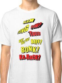 Cartoon BLAM, BONG, POW! THUD! RAT TAT TAT, BIFF! BONK! KA-RACK! by Chillee Wilson Classic T-Shirt