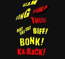 Cartoon BLAM, BONG, POW! THUD! RAT TAT TAT, BIFF! BONK! KA-RACK! by Chillee Wilson Womens Fitted T-Shirt