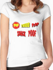 Cartoon POP THUDD PLOP SMACK POOF by Chillee Wilson Women's Fitted Scoop T-Shirt