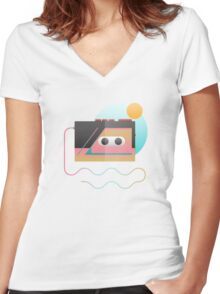 Summer Rhythm Women's Fitted V-Neck T-Shirt