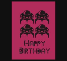 Space Invaders Happy Birthday Greeting Card by Chillee Wilson Kids Clothes