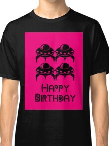 Space Invaders Happy Birthday Greeting Card by Chillee Wilson Classic T-Shirt