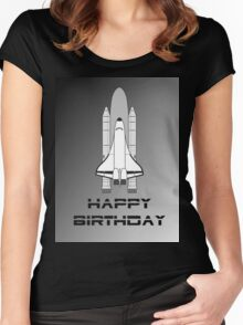 NASA Space Shuttle Happy Birthday Greeting Card by Chillee Wilson Women's Fitted Scoop T-Shirt