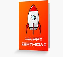 Rocket Ship Happy Birthday Greeting Card by Chillee Wilson Greeting Card