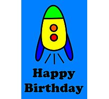 Cartoon Rocket Ship Happy Birthday Greeting Card by Chillee Wilson Photographic Print