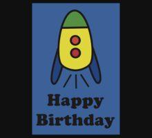 Cartoon Rocket Ship Happy Birthday Greeting Card by Chillee Wilson Kids Tee