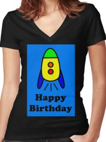 Cartoon Rocket Ship Happy Birthday Greeting Card by Chillee Wilson Women's Fitted V-Neck T-Shirt