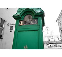 Green Phone Booth Photographic Print