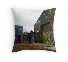 Graffiti Garage Throw Pillow