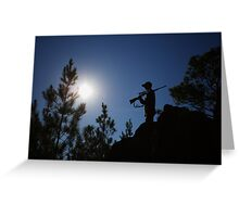 HUNTER STANDING ON ROCKY CLIFF Greeting Card