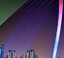Colourful Span of the Millennium Bridge Gateshead by David Lewins