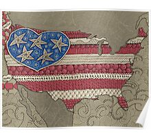 Americana Flag Map  Poster