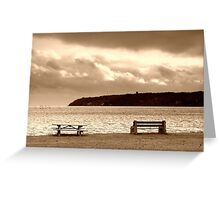 benches and clouds Greeting Card