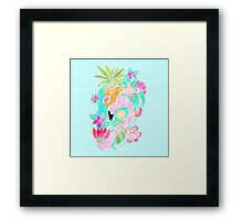 Tropical summer watercolor flamingo floral pineapple Framed Print
