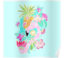Tropical summer watercolor flamingo floral pineapple Poster
