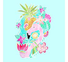 Tropical summer watercolor flamingo floral pineapple Photographic Print