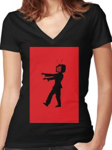 Zombie TV Guy by Chillee Wilson Women's Fitted V-Neck T-Shirt