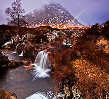 Rainbow over Stob Dearg by Douglas  Latham
