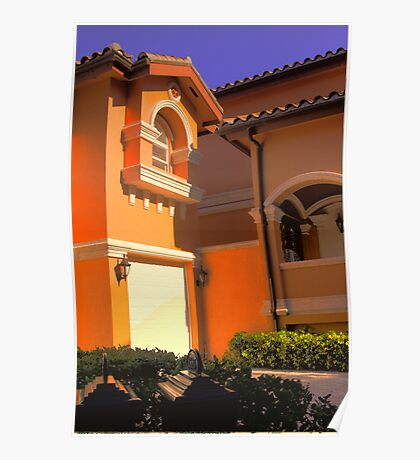 Entry to Mediterranean style residence in South Florida Poster