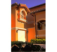 Entry to Mediterranean style residence in South Florida Photographic Print