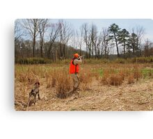 HUNTER FIRES AT A COVEY OF QUAIL  Canvas Print