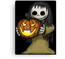 Creepy Girl with Pumpkin Canvas Print
