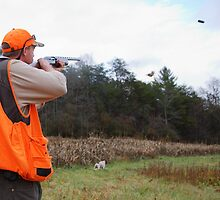 UPLAND BIRD HUNTER FIRES AT PHEASANT   by Wayne Hughes